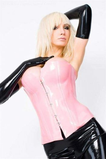Corset With Hooks, Thick Latex  3168