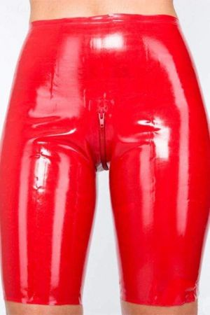 Latex Women's Shorts With Zipper, Thick Latex 1102Z-06