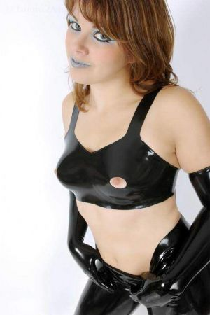 Latex Bra With Exposed Nipples, Thick Latex 1103A