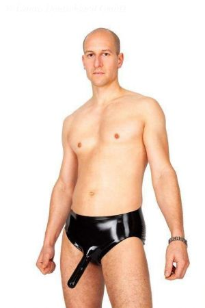 Latex Briefs With Penis Sheath And Open Tip