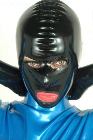 Latex Lady's Hood With Reinforced Openings And Zipper