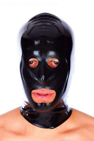 Latex Men's Hood With Reinforced Openings And Zipper  1109-05Z