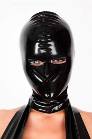 Latex Hood With Openings For Eyes And Nose