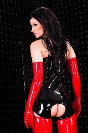 Latex Spanking Bodysuit With Open Crotch, Thick Latex  1117-06