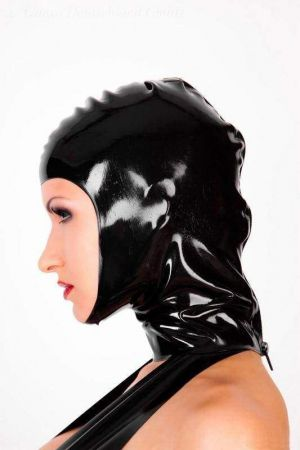 Latex Hood With Full Face Opening And Zipper 1128Z