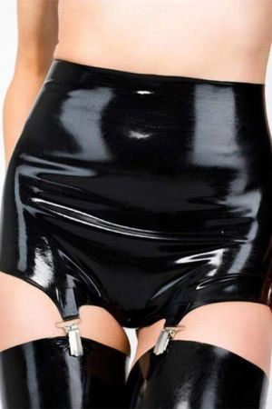 Latex Briefs With Garters And Open Crotch 1134A