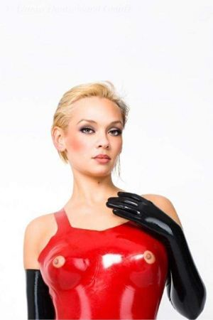 Latex Longline Bra With Exposed Nipples, Thick Latex  1136A