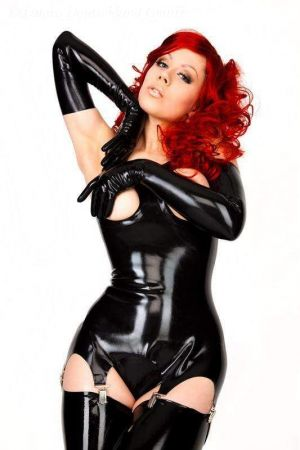 Latex Corselet With Open Breasts, Thick Latex  1137B