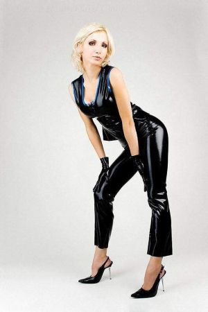 Latex Women's Pants With Open Crotch