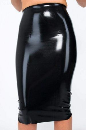 Latex Midi Skirt With Zipper And Slit