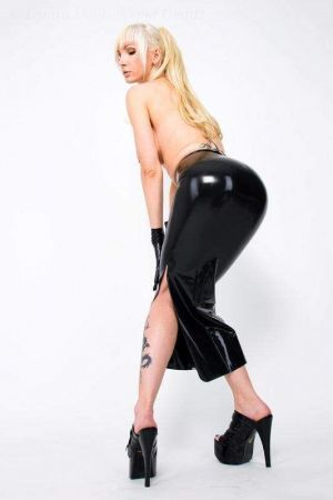 Latex Skirt With Slit