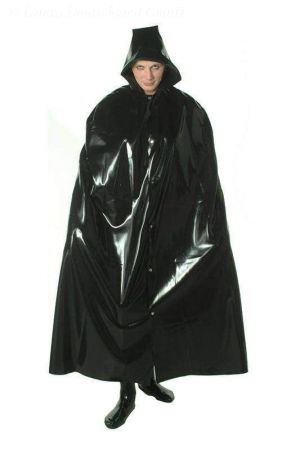 Latex Men's Cape With Hood, Long