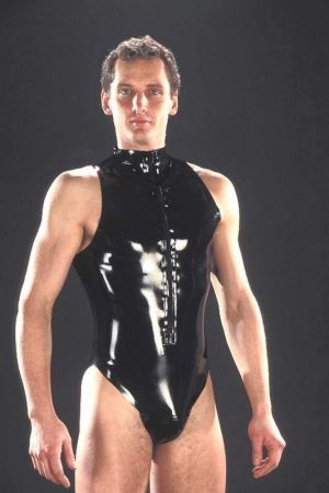 Latex Men's Bodysuit With Zipper 1196