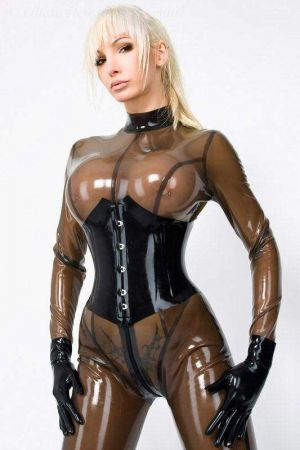 Corset With Hooks, Thick Latex  1219