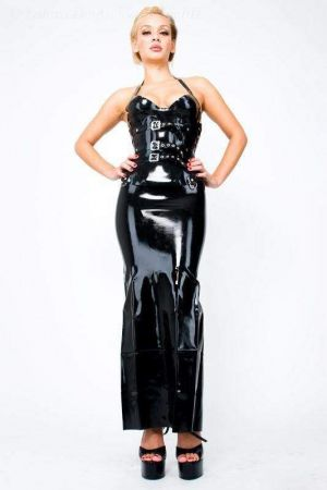 Latex Long Skirt With Back Zipper