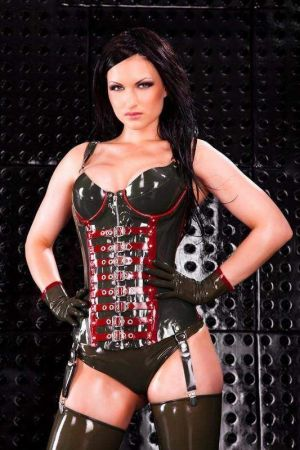 Corset With Cups And Buckles, Thick Latex  1227
