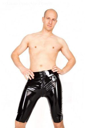 Latex Men's Bermuda Shorts With Zipper, Thick Latex