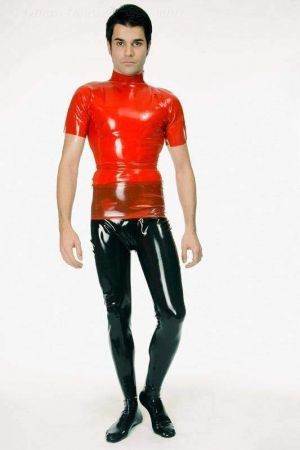 Latex Men's T-Shirt With High Neck 1233