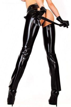 Latex Women's Chaps With Zippers   1241