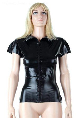 Latex Women's Shirt With Short Sleeves