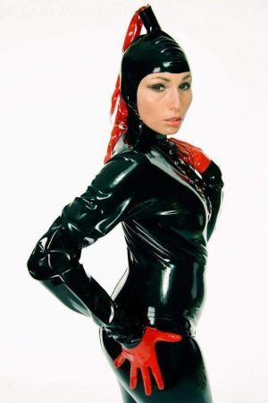 "Latex ""Pony"" Hood With Contrasting Tail"