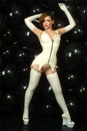 Latex Stockings With Rolled Edges, Thin Latex