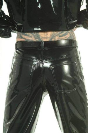 Men's Jeans With Front And Back Pockets, Thick Latex 3003