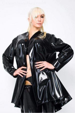 Latex Women's Trench Coat, Short, Thick Latex 3005
