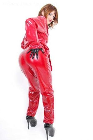 Latex Women's Pants With Pleats