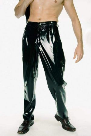 Latex Men's Pants With Pleats