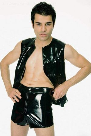 Latex Men's Hot Pants With Zipper And Snap Fastener