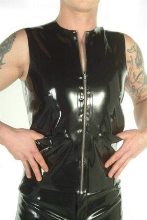 Latex Vest With Side Pockets 3027