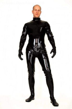 Latex Men's Catsuit: Top-Entry With Gloves And Socks