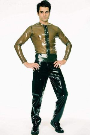 Latex Men's Low-Slung Jeans, Thick Latex