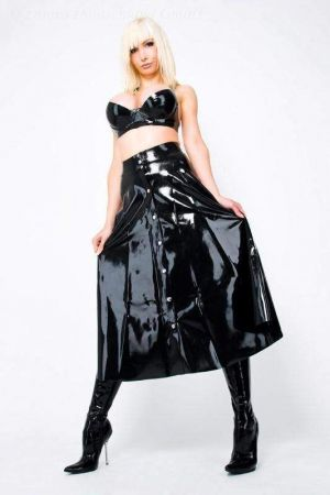 Latex Full Skirt With Snap Fasteners