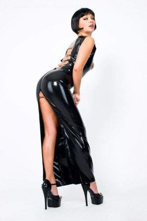 Latex Dress With Straps  3041