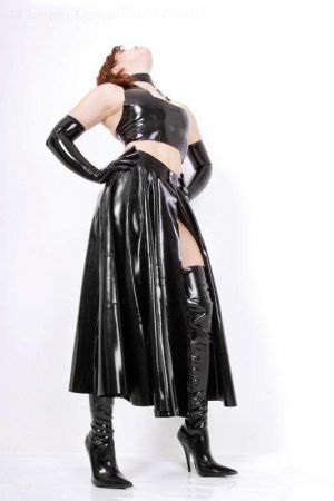 Latex Long Skirt With Open Front 3047