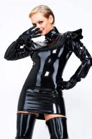 Latex Mini Dress With Shoulder Flounces