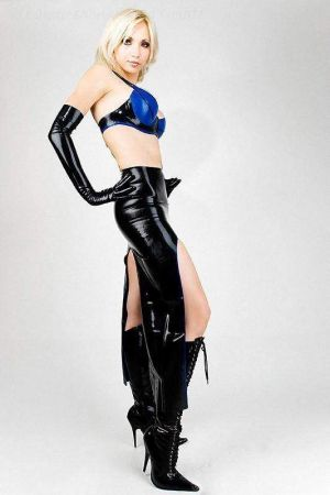 Latex Skirt With 2 Slits