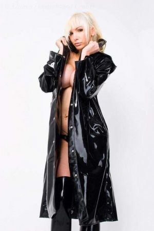 Latex Women's Trench Coat With Hood, Thick Latex 3066