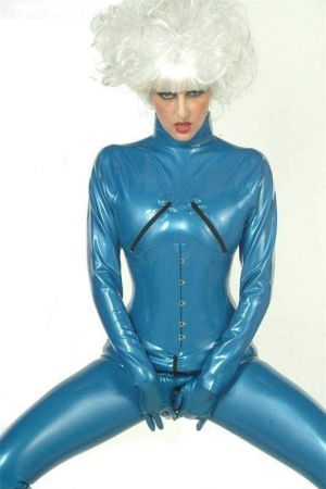 Latex Women's Catsuit With Bust Zippers  3069