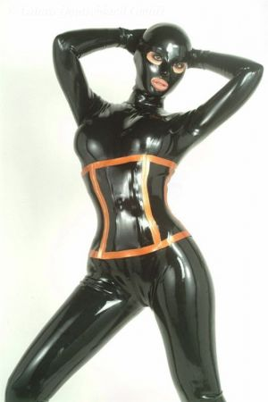 Latex Corset With Zipper, Thick Latex 3075Z