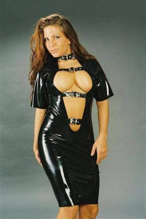 Latex Dress With Buckles  3079