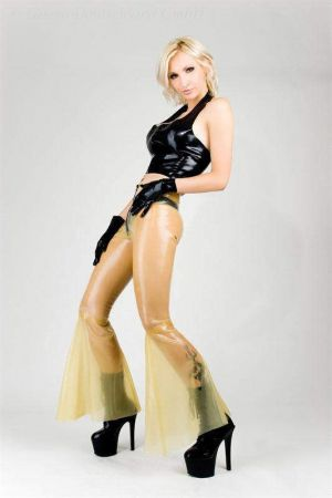 Latex Women's Pants With Bell Bottoms