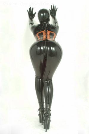 Latex Women's Catsuit With Rear Zipper  3085