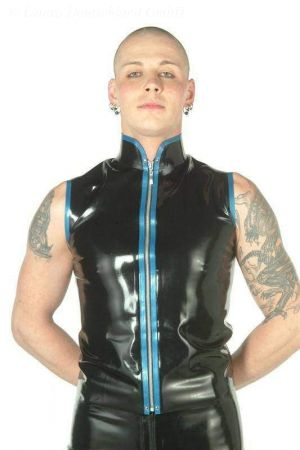 Latex Vest With High Collar 3111
