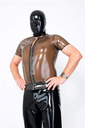 Latex Men's T-Shirt With Zipper