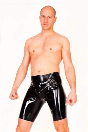 Latex Bermuda Shorts With Codpiece