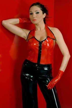 Latex Halter Top With Contrasting Color