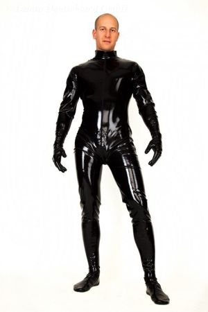 Latex Men's Catsuit With Gloves, Feet And Front Zipper